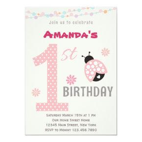 Pink Ladybug First Birthday Party Invitation