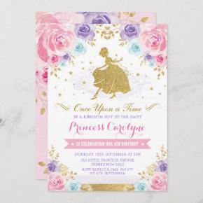 Pink Lavender Gold Princess Cinderella Birthday Invitation