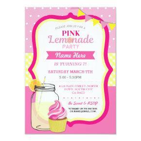 Pink Lemonade Birthday Party Cupcake Jar Invite