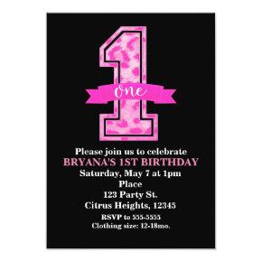 Pink Leopard Cheetah Print One 1st Birthday Party Invitations Candied Clouds