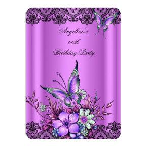 Pink Lilac Butterfly Floral Black Lace Birthday Invitation