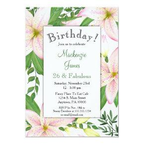 Pink Lily Floral Birthday Party Invitation Ladies