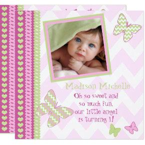 Pink Lime Butterflies Zigzag Photo 1st Birthday Card