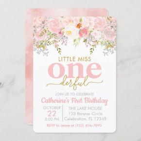 Pink Little Miss ONEderful Girl First Birthday Invitation