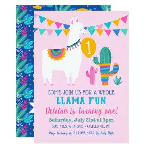 Pink Llama Fun First Birthday Party Girl Invitation