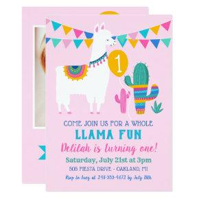 Pink Llama Fun First Birthday Party Girl Photo Invitation