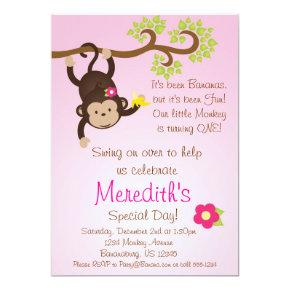 Pink Mod Monkey Girls Birthday Party Invite
