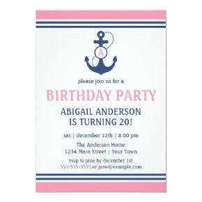 Pink Nautical Anchor Birthday Party Invitations