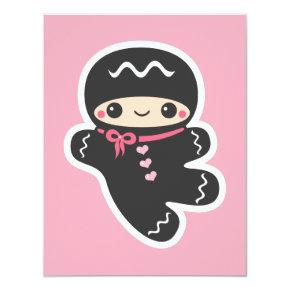 Pink Ninja Birthday Party Invitations