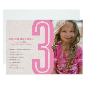 Pink Number Three Birthday Party Invitation