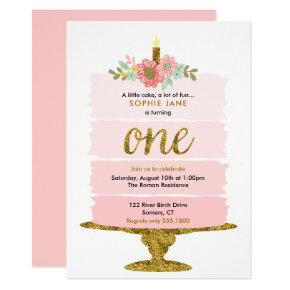 Pink Ombre Cake First Birthday Glitter Invitations