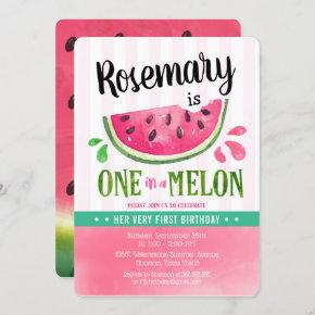 Pink One in a melon First Birthday Invitation
