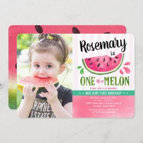 Pink One in a melon First Birthday Photo Invitation