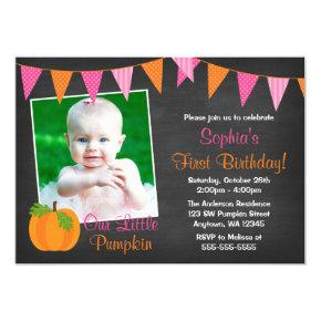 Pink Orange Pumpkin Chalkboard Girl Photo Birthday Invitations