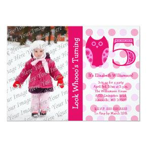 Pink Owl 5th Birthday Party Photo Invitations