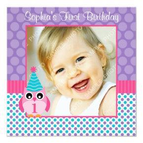 Pink Owl Multi Polka Dot 1st Birthday Girl Photo Invitation