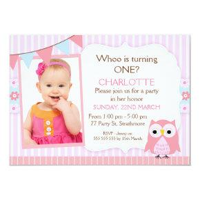 Pink Owl Photo Birthday Party Invitations
