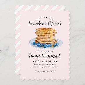 Pink Pancakes Pajamas Birthday Invitation