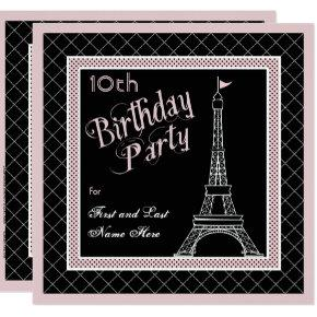 Pink Paris 10th Birthday Party Invitation
