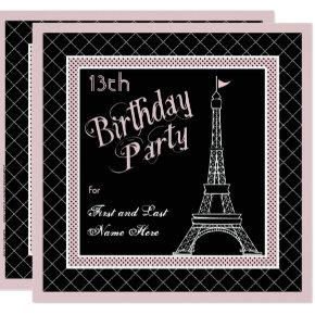 Pink Paris 13th Birthday Party Invitations