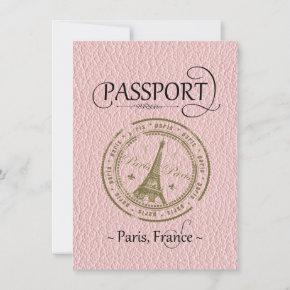 Pink Paris Passport Birthday Invitation