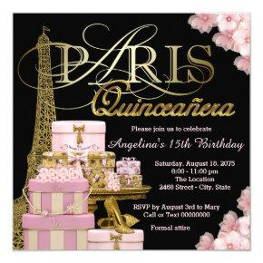 Pink Paris Quinceanera Invitations