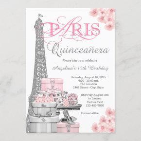 Pink Paris Quinceanera Invitation