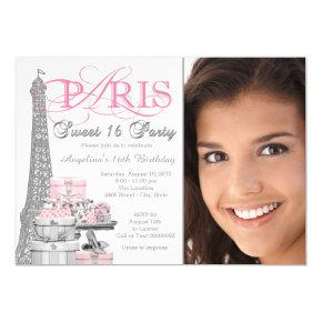 Pink Paris Sweet 16 Birthday Party Card