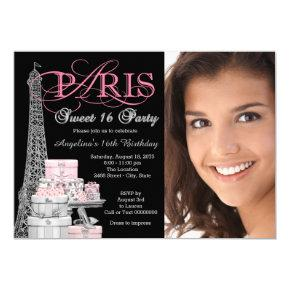 Pink Paris Sweet 16 Birthday Party Invitation