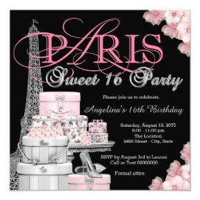 Pink Paris Sweet 16 Party Card