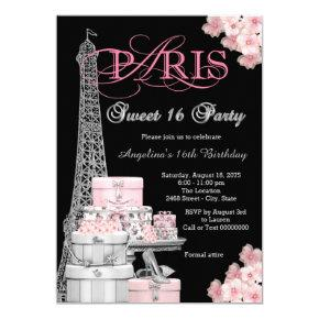 Pink Paris Sweet 16 Party Invitations