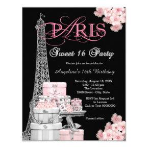 Pink Paris Sweet 16 Party Invitation