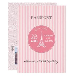 Pink Paris Theme Birthday Party Passport add photo Invitations
