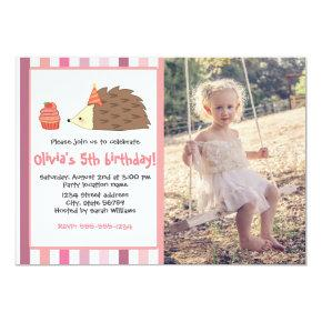Pink Party Hedgehog and Cupcake Invitation