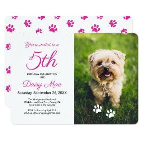 Pink Paw Prints Pet Birthday Photo Invitation