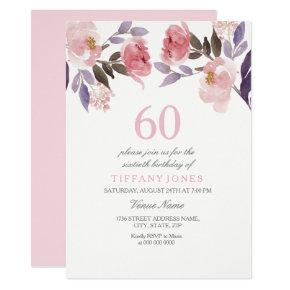 Pink Peach Floral Watercolor 60th Birthday Invite