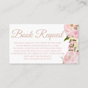 Pink Peony Book Request  for Baby Shower