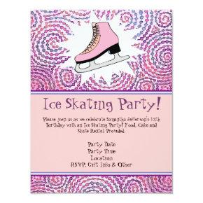 Pink Personalized Ice Skating Party Invitations