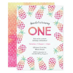 Pink pineapple tropical first birthday Invitation