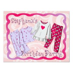 Pink PJ Personalized Birthday Sleepover Invitation