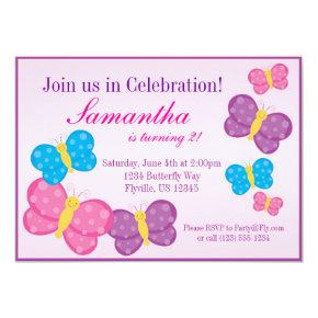 Pink Polka Dot Butterfly Birthday Party Invite
