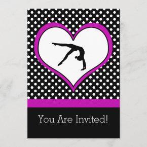Pink Polka-Dot Gymnastics with heart Invitation