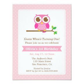 Pink Polka Dots Cute Owl Birthday Party Invitations