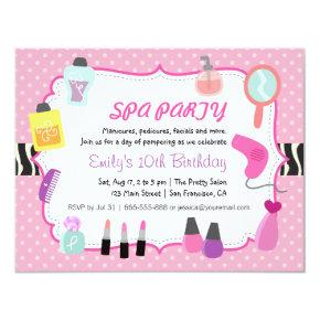 Pink Polka Dots Spa Birthday Party Invitation