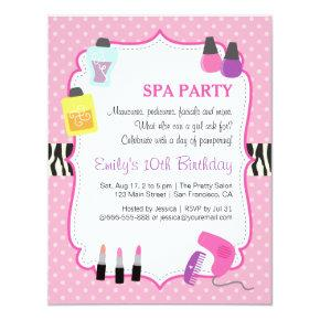 Pink Polka Dots, Spa Birthday Party Invitation