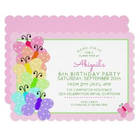 Pink Polkadot Butterfly Birthday Invitations