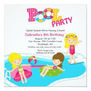 Pink Pool Party All Girls Birthday Invitation