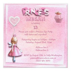 Pink Princess 13th Birthday Spa Party Double Sided Invitation