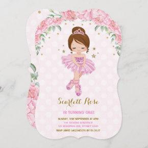 Pink Princess Ballerina Birthday Invite Tutu Party