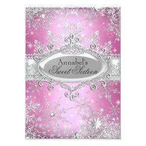 Pink Princess Winter Wonderland Sweet 16 Invite
